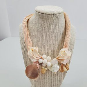 Shell Necklace Basket Pink Cord Statement Mother o